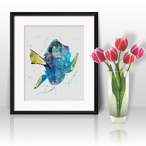 Dory Print, Finding Nemo Nursery Art Print, instant download, Watercolor Print, poster