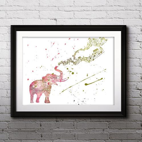 Elephant Music Notes Printable Art Print, buy art, buy digital image, buy painting, buy wall art, buy poster, buy watercolor