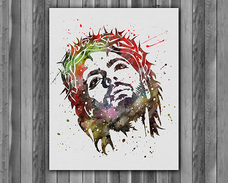 Jesus Christ art Instant Download, Printable, Watercolor Art, Print, Painting, Poster, Home Decor, Wall Art