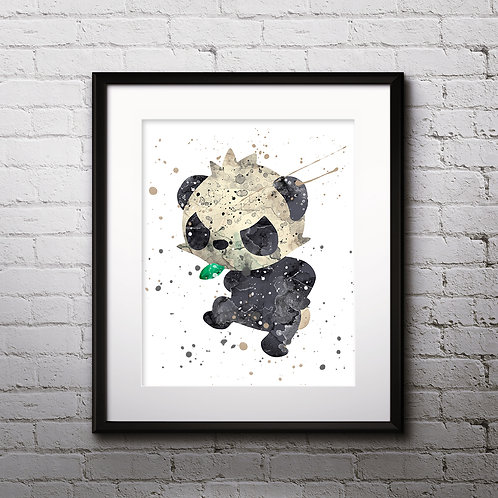 Shiny Pancham Pokédex art Prints, Pokemon Anime art prints, buy Posters, buy watercolor art, buy wall art, buy home decor