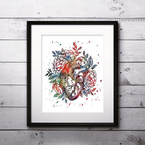 Heart Vintage Art Prints, Poster, watercolor, Painting, Art, Wall Art, Home Decor, Printables