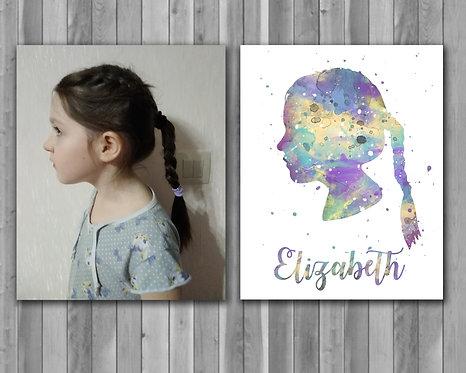 Printable Custom Portraits, Watercolor Print, Art Print, instant download, Printable poster