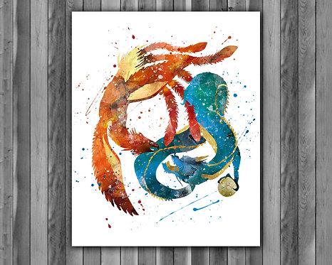 Dragon & Phoenix  Art, Dragon & Phoenix Poster, Dragon & Phoenix Painting, Dragon & Phoenix Art Print, Dragon & Phoenix wall