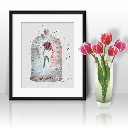 "Rose ""Beauty and the Beast"" Disney art print poster wall decor nursery art"