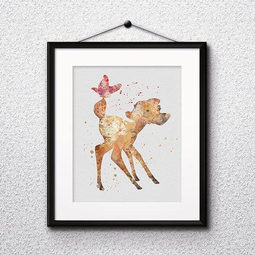 Bambi Disney art, Poster, Bambi watercolor, Bambi Painting, Bambi Art Print, Bambi home decor, Bambi Wall Art