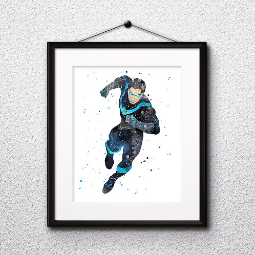 Superhero DC Nightwing Poster, Marvel Comics - Art Print, Watercolor Print, Wall Art, instant download