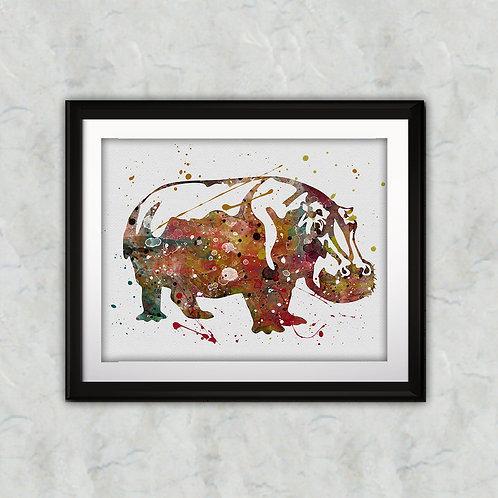 Hippopotamus Animals Prints Painting Print Watercolor illustration Art poster