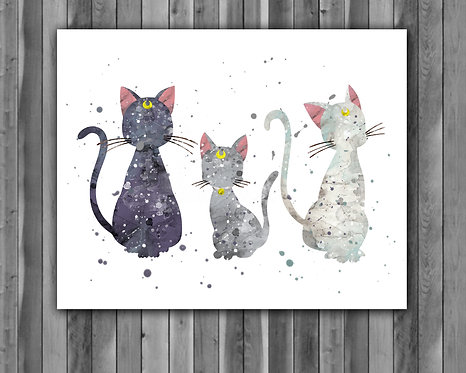 Luna, Diana & Artemis Sailor Moon Anime art Prints, Sailor Moon Posters, Sailor Moon watercolor, Sailor Moon wall art, Sailor