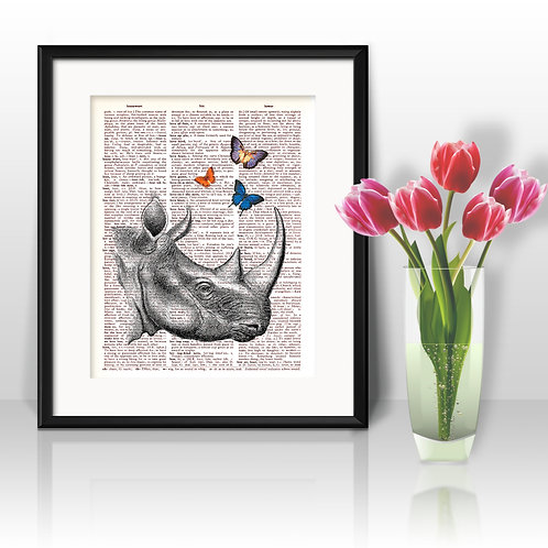 Rhino vintage Dictionary Wall Art painting Home Decor mixed media art print