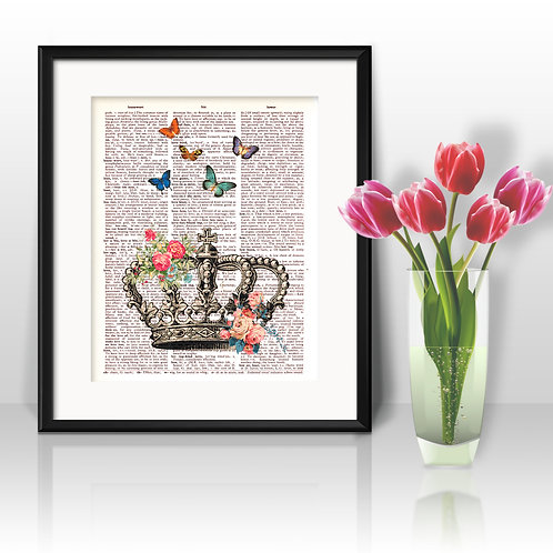 Crown vintage Dictionary Wall Art painting Home Decor mixed media art print