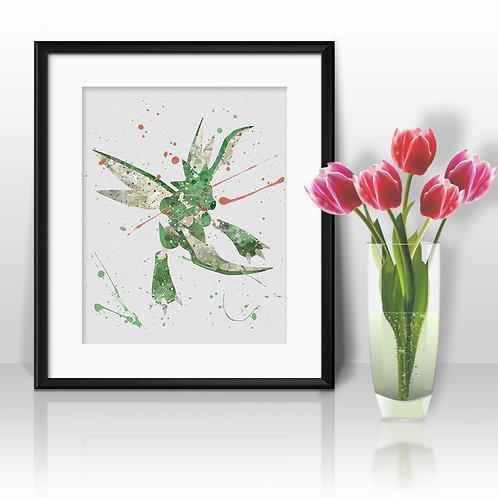 Scyther Pokédex art Prints, Pokemon Anime art prints, buy Posters, buy watercolor art, buy wall art, buy home decor