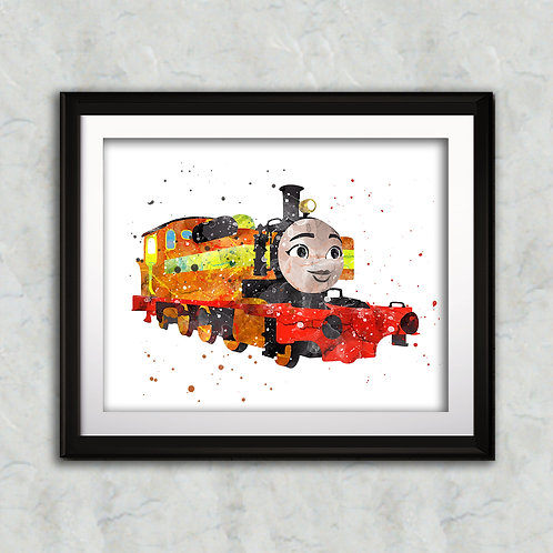 Nia - Thomas the Tank nursery art print, Wall Art, Poster,  Painting, Home Decor, Watercolor Print, Watercolour Print