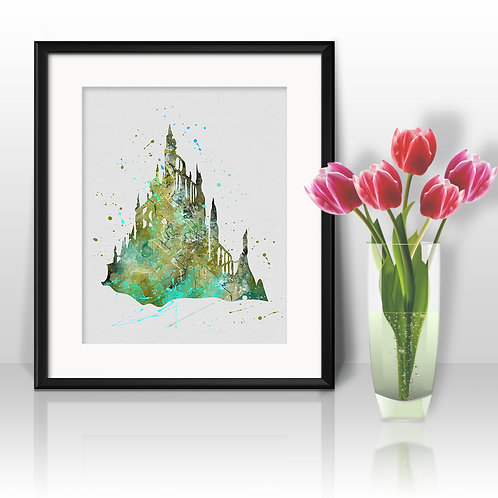 Ariel Castle Disney The Little Mermaid Art, Watercolor Printable, Print, Painting, Home Decor, Wall Art Poster, buy poster