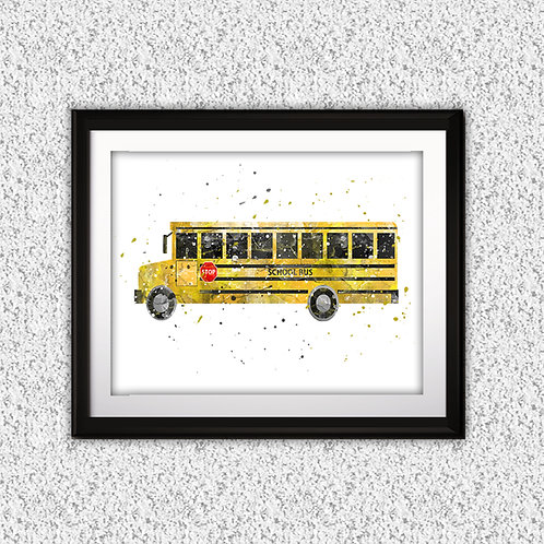 School Bus Print, Nursery Wall Art, School Bus Decor, School Bus, Transportation Wall Art, School Bus Wall Decor