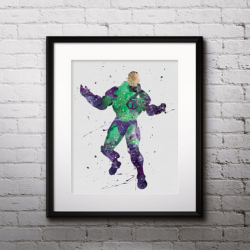 Lex Luthor supervillain DC Comics watercolor Printable Poster, Art Print, instant download, painting, Watercolor Print, Home