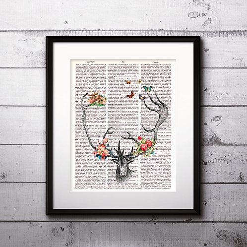 Deer vintage Dictionary Wall Art painting Home Decor mixed media art print