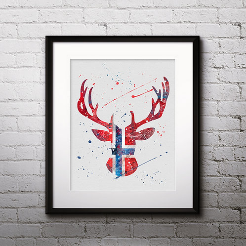 Deer Norwegian flag Print, Norwegian flag Art, Norwegian flag Painting, Norwegian flag Poster, Deer Norwegian flag