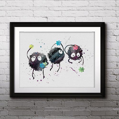 Soot Balls, Spirited Away Anime Art, Watercolor Printable, Print, Painting, Home Decor, Wall Art Poster, buy poster, buy art