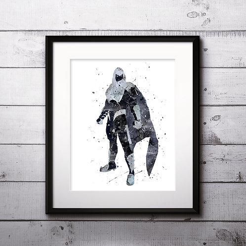 Superhero Moon Knight Poster, Marvel Comics - Art Print, instant download, Watercolor Print