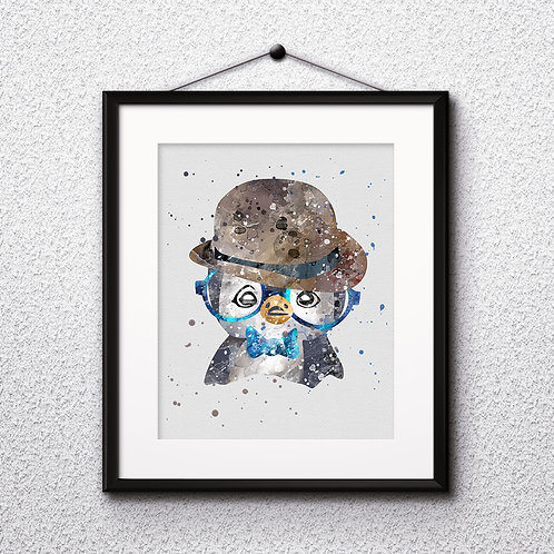 Hipster Penguin in Glasses  Art Prints, Posters, Watercolor Art, Wall art, home decor, Printable Art, Art Prints, Painting