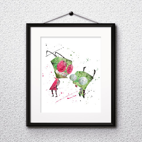 Invader Zim - Gir and Zim - Instant Nursery Art Print, watercolor Art Print, watercolor wall art, watercolor art print