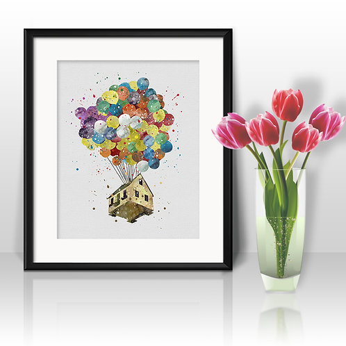 Art Print Instant Dowload, Up ballon Disney Pixar Watercolor, Up ballon Wall Art,  Painting,  Poster, Up ballon