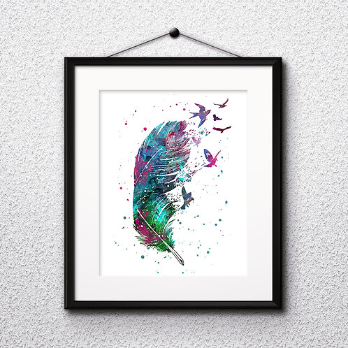 Feathers with Birds Anatomy Art Prints, Poster, watercolor, Painting, Art, Wall Art, Home Decor, Printables
