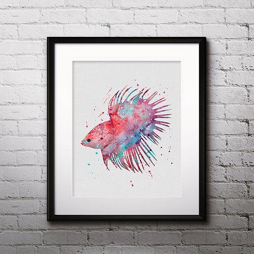 Betta Fish Printable Art Print Poster Painting Watercolor Illustration