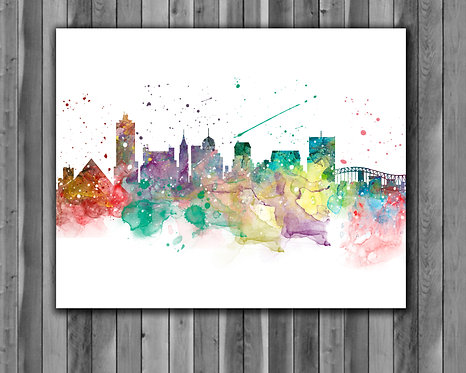 Memphis Skyline Art Prints Skylines Painting Skylines Poster Skylines Wall Art Skylines watercolor Skylines Home art