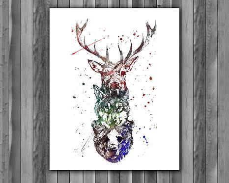 Forest animals vintage art, animals print, animals poster, animals painting, animals printables, animals instant download
