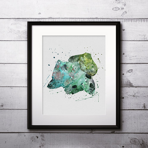 Bulbasaur Pokemon Anime painting Printable Watercolor Art Print Painting Poster Home Wall Art instant download Wall Art