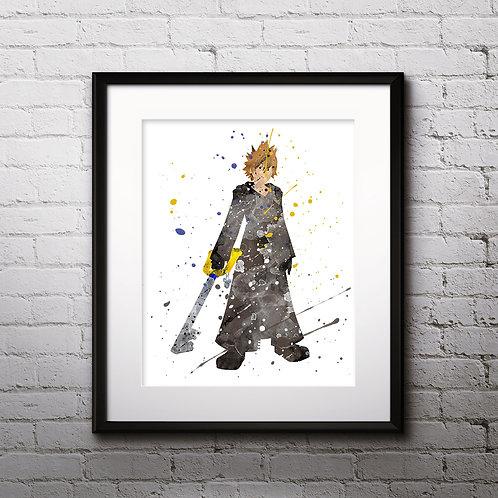 Roxas Kingdom Hearts Anime art prints, Anime wall art, Anime watercolor painting, Kingdom Hearts Anime art prints