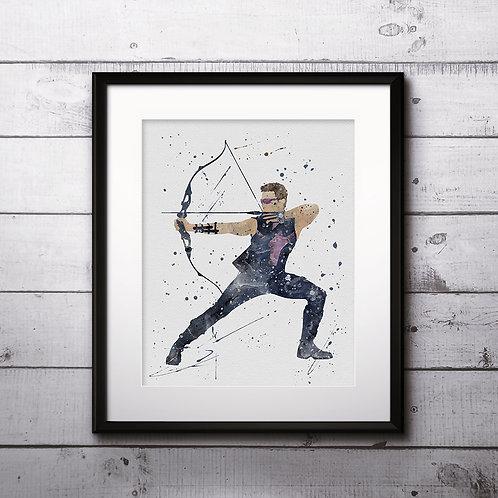 Hawkeye superhero buy Poster, buy Watercolor, buy superhero Print, buy superhero Art, buy Wall Art, Home Decor