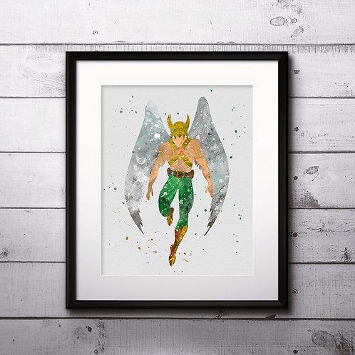 Superhero DC Hawkman Poster, Marvel Comics - Art Print, Watercolor Print, Wall Art, instant download