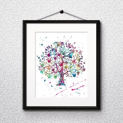 Decorative Tree Art Printable, buy Art Print, buy digital image, buy watercolor, buy painting, buy wall art, buy poster