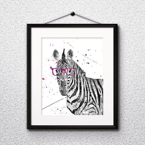 Zebra With Glasses Printable Art Print, Animals with glasses art, buy digital image, бой painting, buy wall art, buy poster