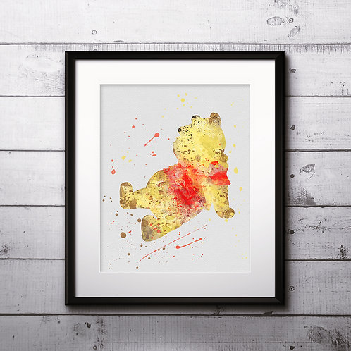 Art Print Instant Dowload, Winnie the Pooh Disney Watercolor, Winnie the Pooh Wall Art, Painting, Winnie the Pooh Poster