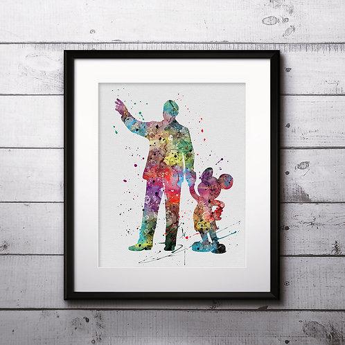 Walt Disney and Mickey Mouse art, Disney Poster, Disney Painting, Disney Art Print, Disney home decor, Disney Decor, Disney