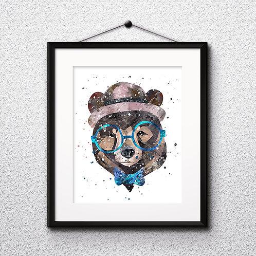 Hipster Bear in Glasses  Art Prints, Posters, Watercolor Art, Wall art, home decor, Printable Art, Art Prints, Painting