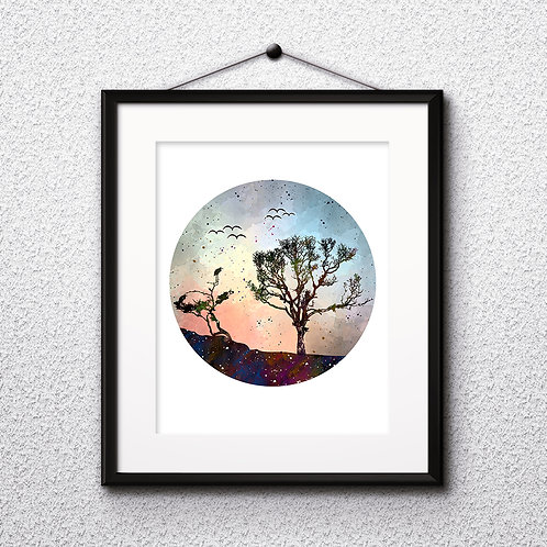 Minimalist Nature watercolor Print, Circle Print , Circle Art, Geometric Print, Nature Арт, Nature Geometric Poster