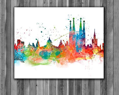 Barcelona Skyline Art Prints, Skylines Painting, Skylines Poster, Skylines watercolor, Skylines Wall Art, Skylines Home art
