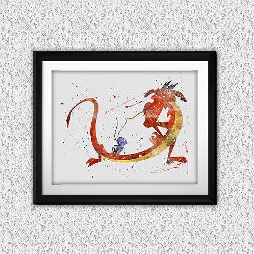 Mulan - Mushu Disney art, Disney Poster, Disney Painting, Disney Art Print, Disney home decor, Disney Decor, Disney wall art
