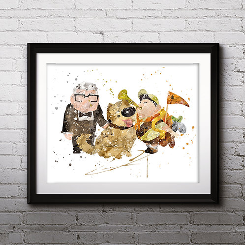 Pixar Up Balloon Disney art, Old Carl Fredricksen, Russell, and Dug Poster,  Painting, Art Print, home decor, wall art