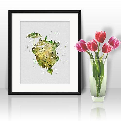 Totoro Poster - watercolor, Art Print, instant download, Watercolor Print, poster