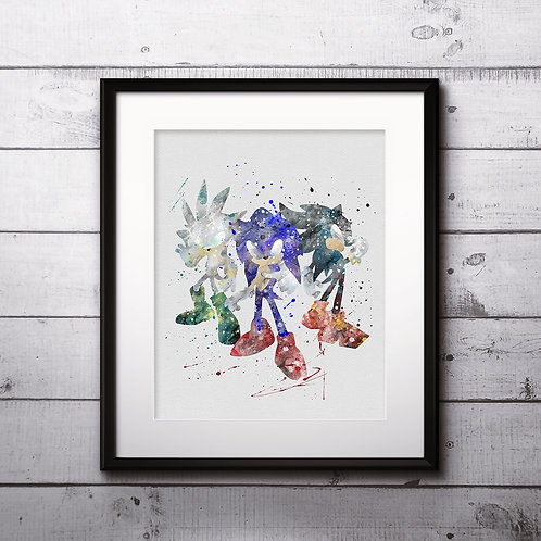 Sonic painting Printable Watercolor Art, Print ,Painting, Poster, Home Wall Art, instant download, Wall Art Poster