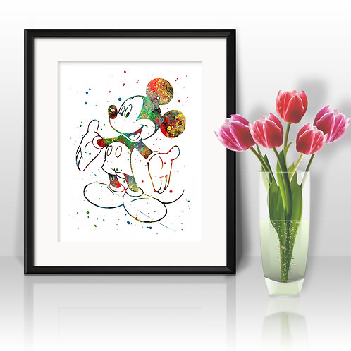 Mickey Mouse Disney Art Prints, Poster, watercolor, Painting, Art, Wall Art, Home Decor, Printables