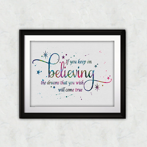 Quote from Cinderella poster - watercolor, Art Print, instant download, Watercolor Print, painting