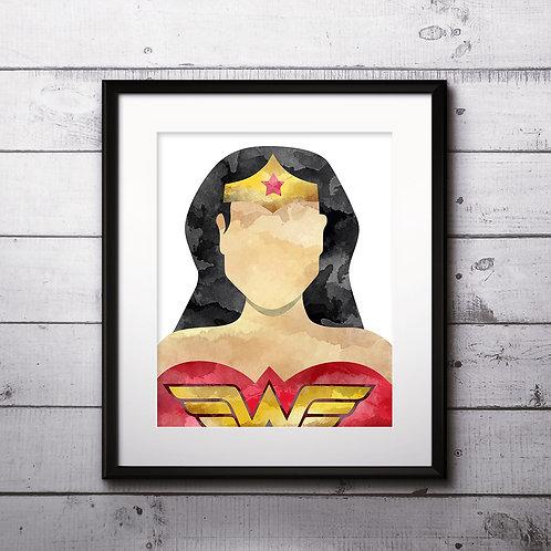 Wonder Woman Superhero Art, Watercolor Printable, Print, Painting, Home Decor, Wall Art Poster, buy poster, buy print