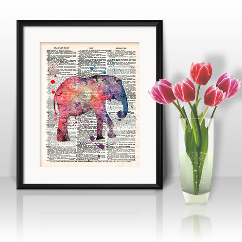 Elephant Dictionary Wall Art painting Home Decor mixed media art print