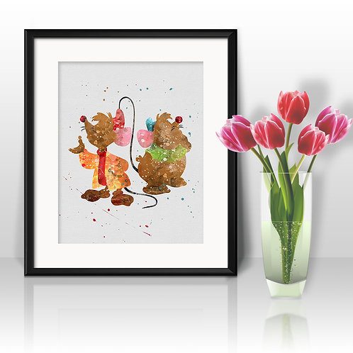 Jaq and Gus Cinderella DISNEY Wall Art, Art Print, instant download, Watercolor Print, poster